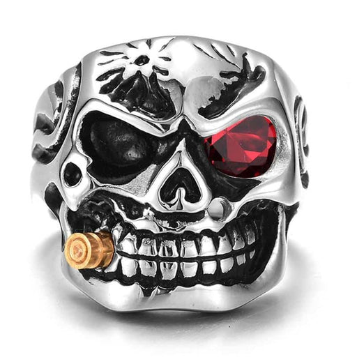 Gold Smoking Pipe Biker Men's Rings