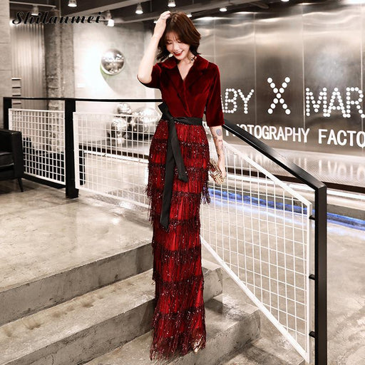 Women'S Elegant Turn Down Collar Velvet Long Dress Red