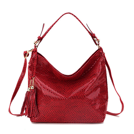 Serpentine Pattern Leather Women Shoulder Bag