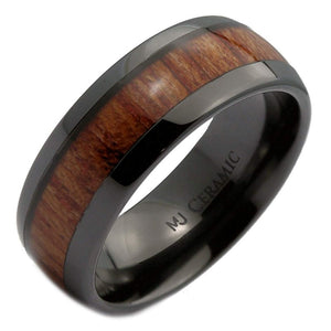 Venim Series - Ceramic Men's Wooden Ring with Sandalwood Inlay - 8mm & 6mm