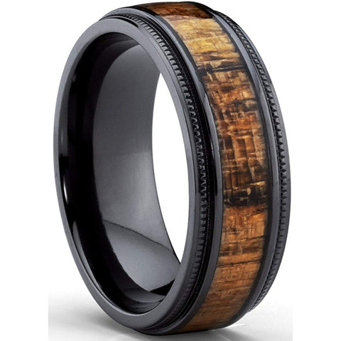 Milram - Titanium Men's Wooden Ring with Zebrawood Inlay - 8mm