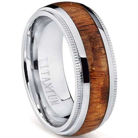 Auberon - Titanium Men's Wooden Ring with Sandalwood Inlay - 8mm