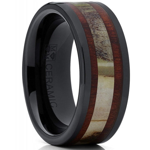 Finlo - Ceramic Men's Wooden Ring with Sandalwood Inlay - 8mm