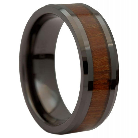 Nushi - Ceramic Men's Wooden Ring with Sandalwood Inlay - 8mm
