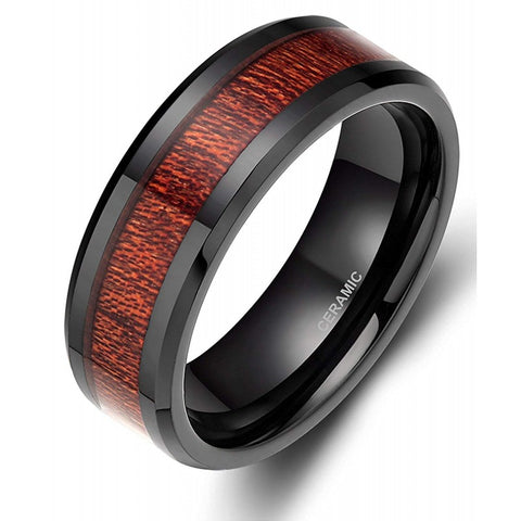 Cicero - Ceramic Men's Wooden Ring with Sandalwood Inlay - 8mm