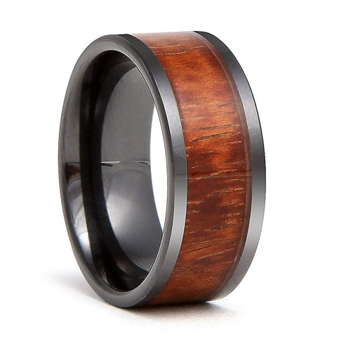 Tiamat - Ceramic Men's Wooden Ring with Sandalwood Inlay - 9mm