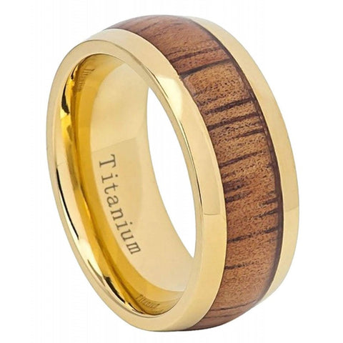 Tyldryt - Gold Titanium Men's Wooden Ring with Zebrawood Inlay - 8mm