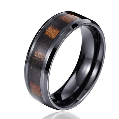 Kiergunth - Titanium Men's Women's Wooden Ring with Zebrawood Inlay - 6mm