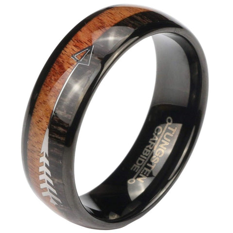 Copy of The Arrow Collection Obsidian - Tungsten Carbide Men's Sandalwood Wooden Ring - 8mm