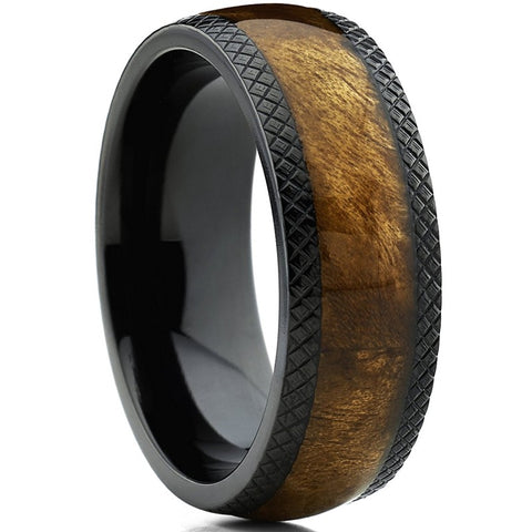 Lugh - Titanium Men's Wooden Ring with Walnut Inlay - 8mm