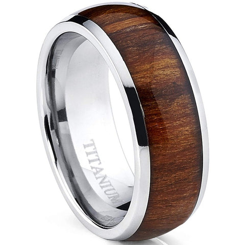 Nahar - Titanium Men's Wooden Ring with Sandalwood Inlay - 8mm