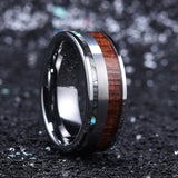 Haku - Tungsten Carbide Men's Wooden Ring with Sandalwood Inlay - 8mm