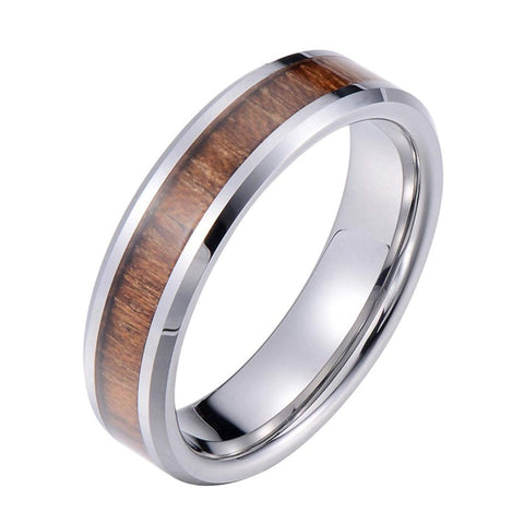 Amandine - Tungsten Carbide Women's Wooden Ring with Sandalwood Inlay - 6mm