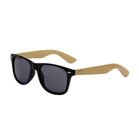 River Bamboo Collection - Hybrid Wayfarer Series Wooden Sunglasses - Midnight Tint