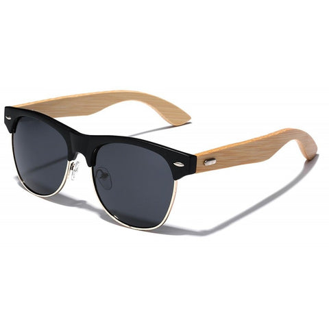 Anthony Bamboo Wood Collection - Wayfarer Round Hybrid Series Wooden Sunglasses - Midnight Tint