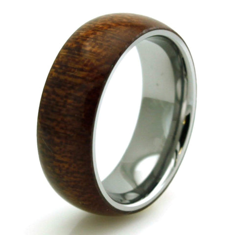 Sirrush - Stainless Steel Men's Wooden Ring with Sandalwood Inlay - 8mm