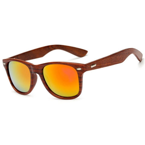 Andrias Sandalwood Collection - Wayfarer Round Series Wooden Sunglasses - Fire Tint