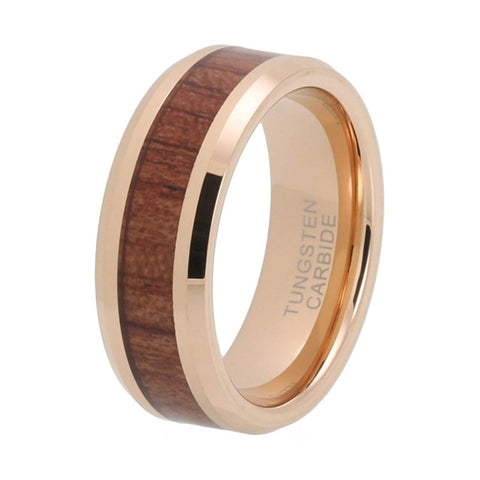 Ladon - Rose Gold Tungsten Carbide Men's Wooden Ring with Sandalwood Inlay - 8mm