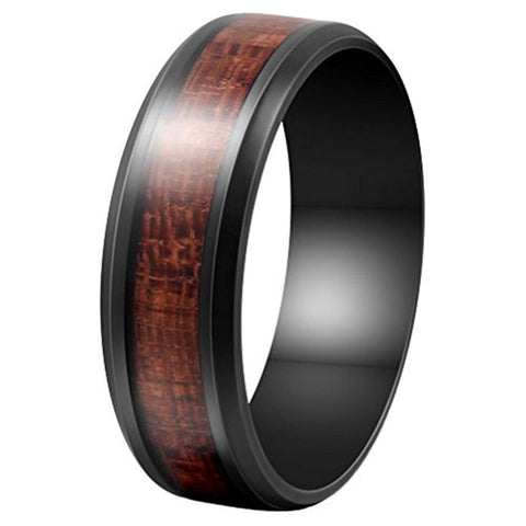 Norbert - Stainless Steel Men's Wooden Ring with Sandalwood Inlay - 8mm