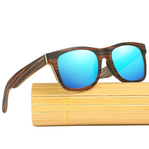 Premium Dark Zebra Collection - Wayfarer Series Wooden Sunglasses - Sky Tint