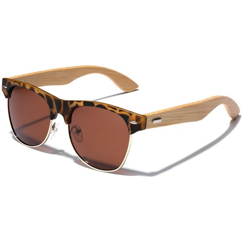Anthony Bamboo Wood Collection - Wayfarer Round Hybrid Series Wooden Sunglasses - Timbers Tint