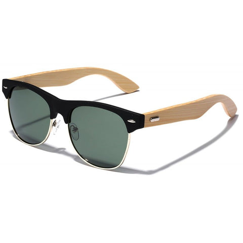 Anthony Bamboo Wood Collection - Wayfarer Round Hybrid Series Wooden Sunglasses - Smoke Tint
