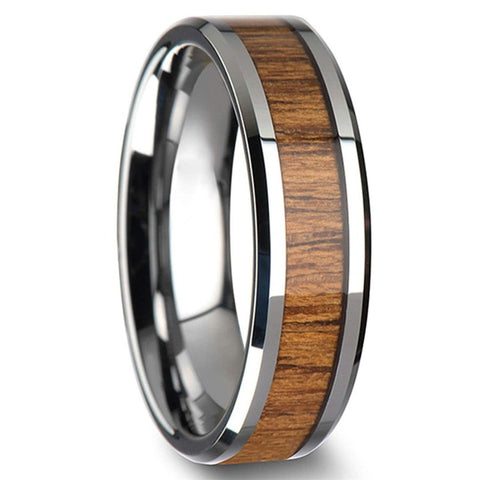 Cabot - Stainless Steel Men's Wooden Ring with Zebrawood Inlay - 8mm
