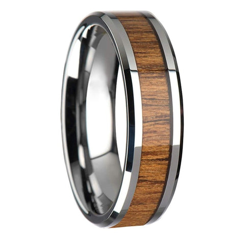 Tharion - Tungsten Carbide Men's Wooden Ring with Sandalwood Inlay - 6mm