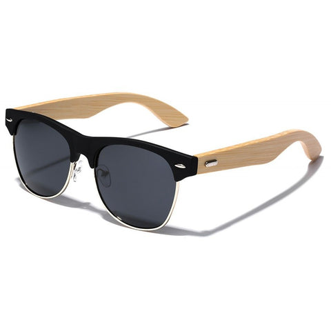 Anthony Bamboo Wood Collection - Wayfarer Round Hybrid Series Wooden Sunglasses - Midnight Tint 2