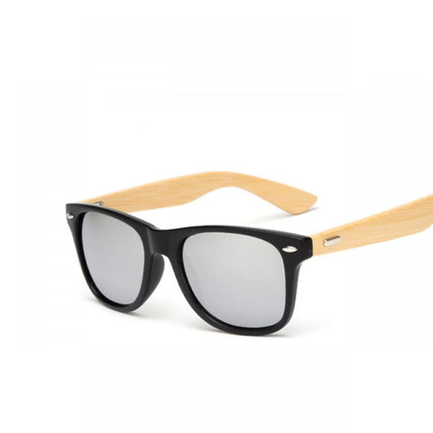 River Bamboo Collection - Hybrid Wayfarer Series Wooden Sunglasses - Mirror Tint