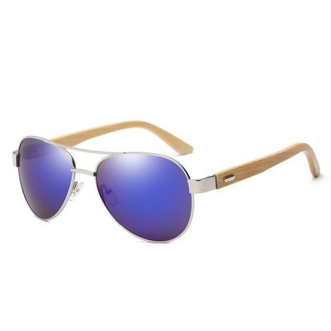 Top Gun Bamboo Wood Collection - Aviator Series Wooden Sunglasses - Ocean Tint