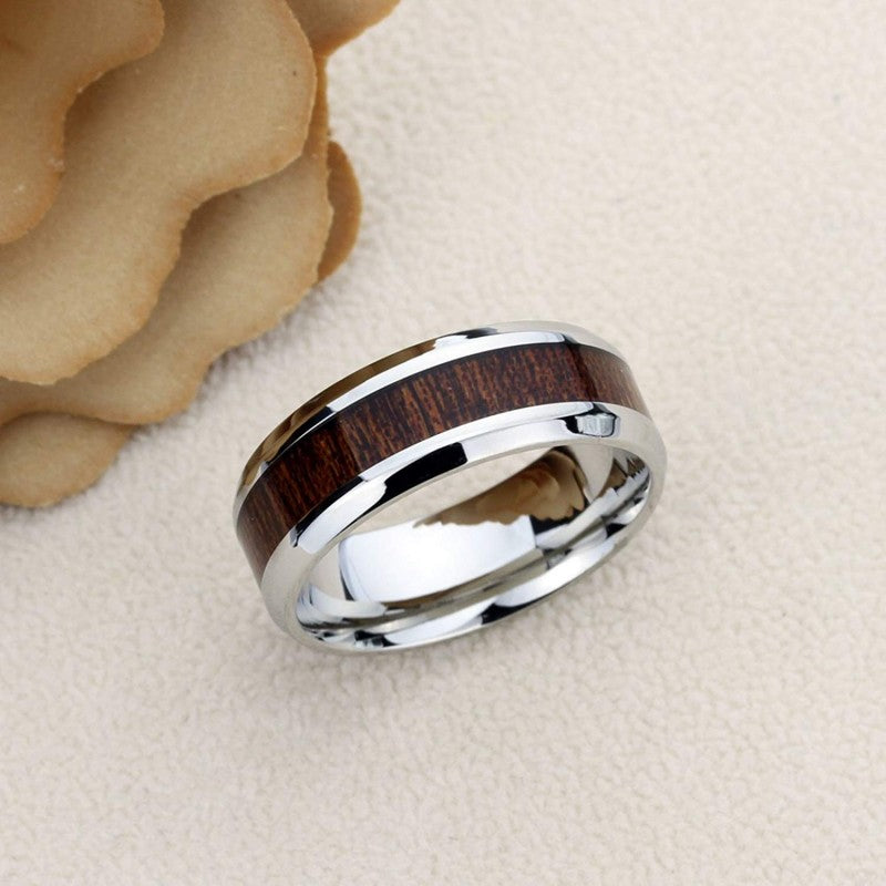 Nocturne - Stainless Steel Men's Wooden Ring with Sandalwood Inlay - 8mm