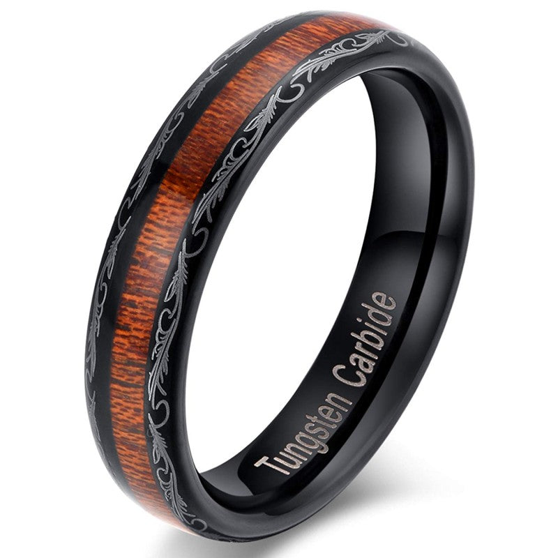 Aquilia - Tungsten Carbide Women's Wooden Ring - Sandalwood Inlay - 5mm