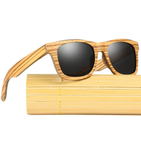 Sawyer Zebrawood Collection - Wayfarer Series Wooden Sunglasses - Midnight Tint