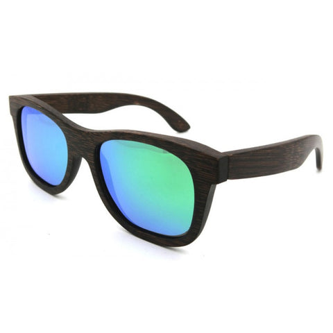 Canyon Polarized Ebony Wood Collection - Wayfarer Round Series Wooden Sunglasses - Beach Tint