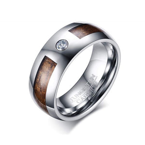 Ketu - Tungsten Carbide Men's Wooden Ring with Sandalwood Inlay - 8mm