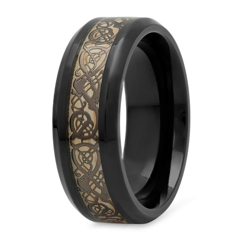 Jalbie - Titanium Men's Wooden Ring with Celtic Design Bamboo Inlay - 8mm