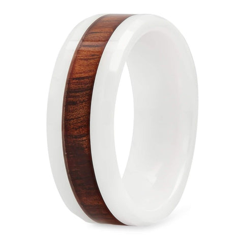 Nimbus - Ceramic Men's Wooden Ring with Sandalwood Inlay - 8mm