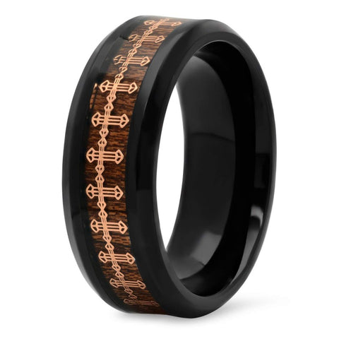 Jonah - Titanium Men's Wooden Ring with Gold Cross Sandalwood Inlay - 8mm
