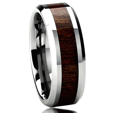 Antonius - Tungsten Carbide Men's Wooden Ring - Sandalwood Inlay - 8mm
