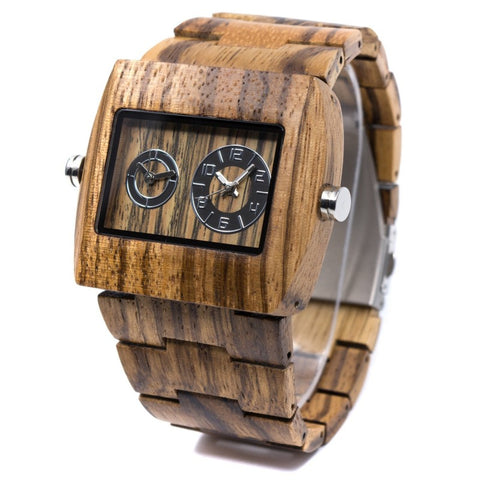 Gemini Dual Time Zone Series - Zebrawood Wooden Watch