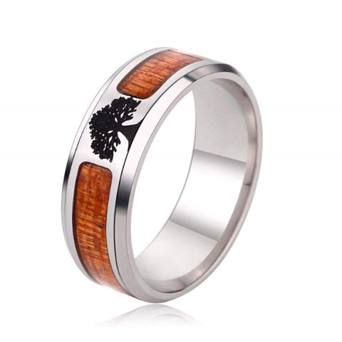Tree of Life - Stainless Steel Men's Wooden Ring with Sandalwood Inlay - 8mm