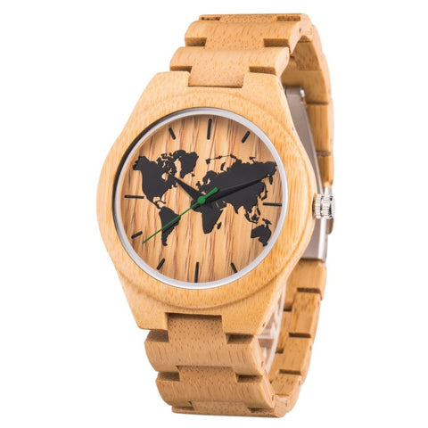 World Map Series - All Bamboo Wooden Watch