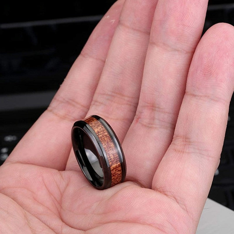 Helios - Tungsten Carbide Men's Wooden Ring with Sandalwood Inlay - 8mm