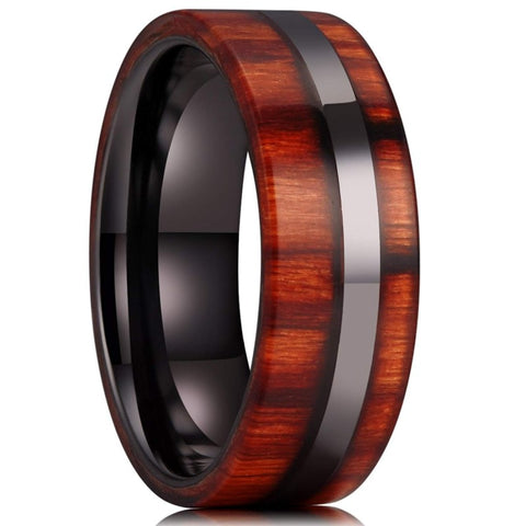 Tatsu - Ceramic Men's Wooden Ring with Sandalwood Inlay - 8mm