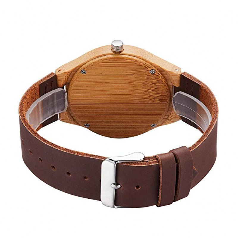 Apollo Series -Bamboo Wooden Watch with Brown Leather Strap