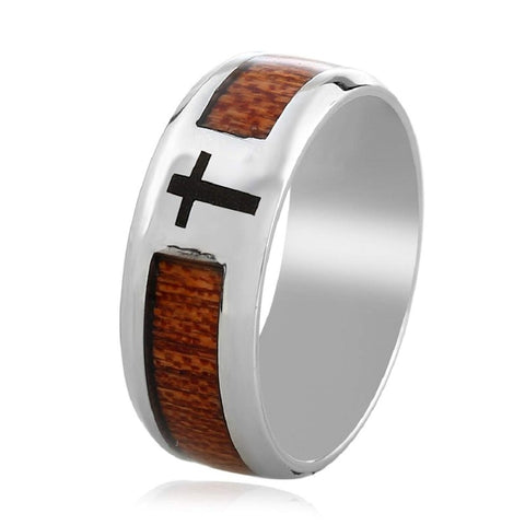 Ryoko - Stainless Steel Men's Wooden Ring with Sandalwood Inlay - 8mm