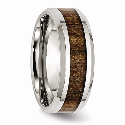 Tarasque - Stainless Steel Men's Wooden Ring with Zebrawood Inlay - 8mm