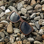 Canyon Polarized Ebony Wood Collection - Wayfarer Round Series Wooden Sunglasses - Midnight Tint