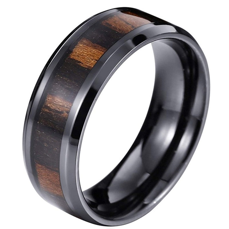 Hyperion - Tungsten Carbide Men's Wooden Ring with Zebrawood Inlay - 8mm